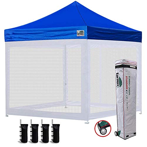 Eurmax 10×10 Ez Pop up Canopy Screen Houses Shelter Commercial Tent with Mesh Walls and Roller Bag,Bouns 4 Sandbags Weight Blue