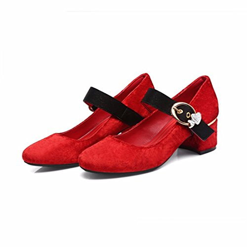 Gules Shoes and Closed Women's Women's Word Buckle Heels RFF Shoes Toe Size Heel Big with Pump Strap Ladies Sweet Ankle Heel R5wpF5Oqx