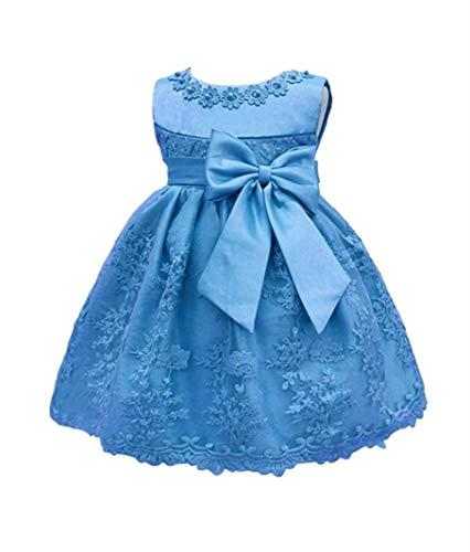 H.X Baby Girl's Newborn Bowknot Gauze Christening Baptism Dress Infant Flower Girls Wedding Dresses 12 Color (6M/6-9 Months, Blue) ()