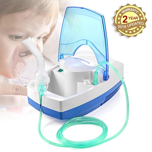 Portable Compact Compressor Cool Mist Inhaler with Full Mask Kit for Kids Adults 2 Year Warranty