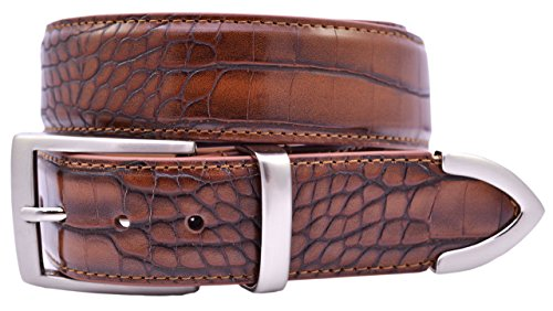 PGA Men's Croco Print 3 Piece Leather Belt, 40, Brown