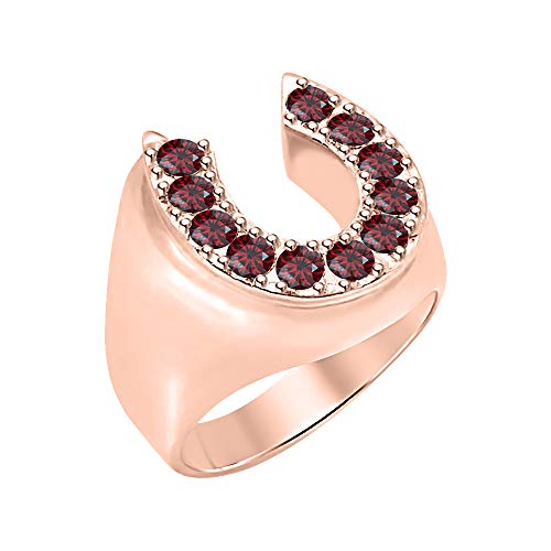 RUDRAFASHION Lucky Horse Shoe Round Cut Red Garnet 14K Rose Gold Over 925 Sterling Silver Men's Ring