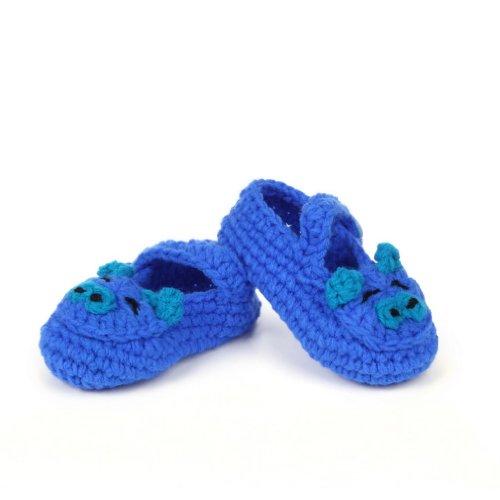 Smile YKK Gestrickte Baby Schuhe Krabbelschuhe flauschige Länge 11 cm Blau Schwein Dunkelblau D