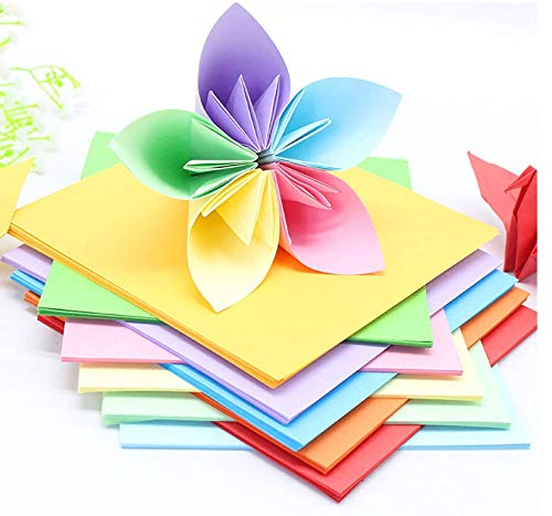 OFIXO 100 pcs A4 Sheets Square Double Sided Colored Origami Folding Lucky Wish Paper DIY Craft