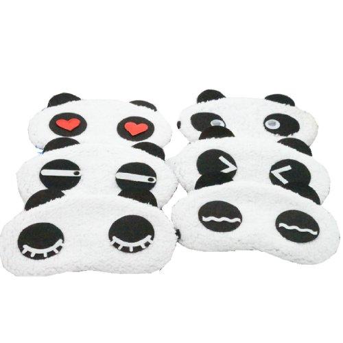 Ayygiftideas 6PCS Cute Panda Design Soft Plush Eyeshade Eyep