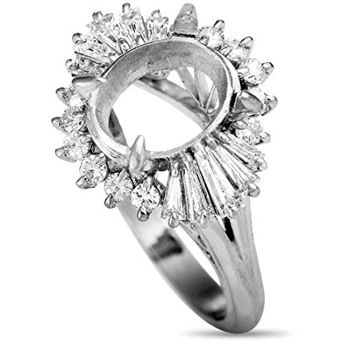 Luxury Bazaar Platinum and Round and Tapered Baguette Diamond Mounting Ring Baguette Diamond Ring Setting Mounting