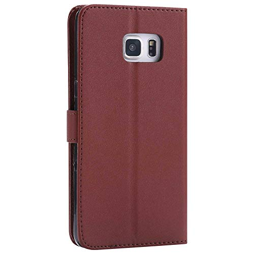 UNEXTATI Galaxy S6 Edge Plus Case, Leather Magnetic Closure Flip Wallet Case with Card Slot and Wrist Strap, Slim Full Body Protective Case (Brown #6) by UNEXTATI (Image #3)