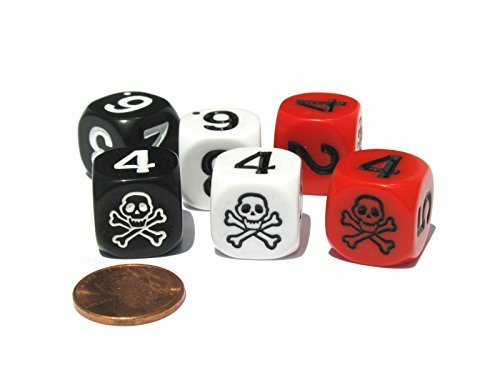 Set of 6 Skull and Crossbones 16mm Numerical Dice- 2 Each of Black, Red, and White by Koplow Games