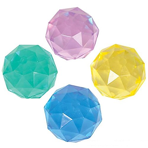 24 Pack Diamond Geometric Bounce Balls - Party Favors, Party Supplies, Prizes, Treasure Boxes, Stocking Stuffers, Easter Baskets