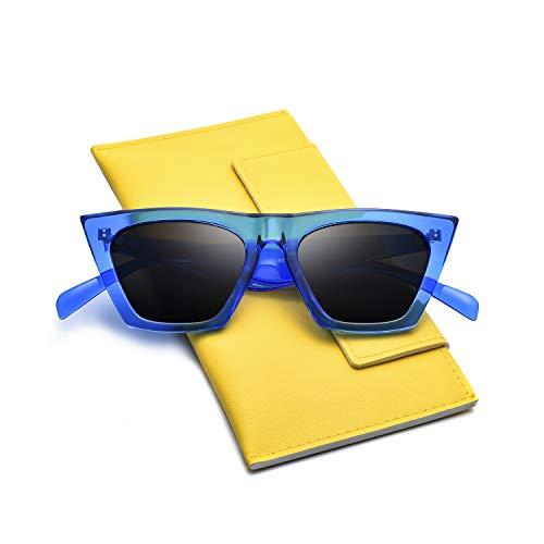 Mosanana Square Cateye Sunglasses for Women 2019 Trendy Fashion Blue Cool Retro Vintage Cat Eye Ladies Unique Thick Shade Sun Glasses Small Mod Chic Sharp Ponited gafas lentes de sol de para mujer