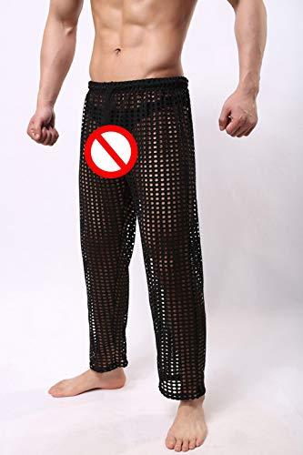 Casual Noir Pour Malloom Creux Pyjamas Mesh La Hommes Pantalons Fun Mode De aYwPxq5