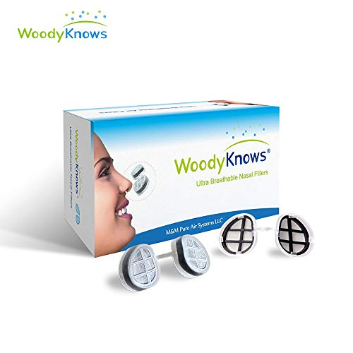 WoodyKnows Ultra Breathable Nasal Filters, Relieve Hay Fever, Pollen, Dust, Pet Hair, Dander Allergens Allergy, Alternative to Nasal Spray (Slotted Nostrils, M(3 frames))
