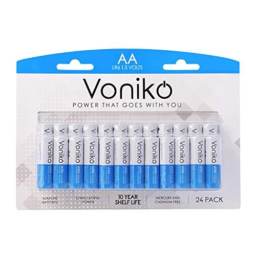 VONIKO - Premium Grade AA Batteries - 24 Pack - Alkaline Double AA Battery - Ultra Long-Lasting, Leakproof 1.5v Batteries - 10 Year Shelf Life
