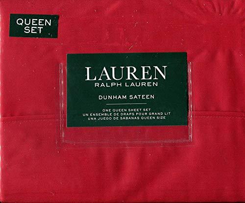RALPH LAUREN Admiral Red Dunham Sateen Sheet Set, Queen ()