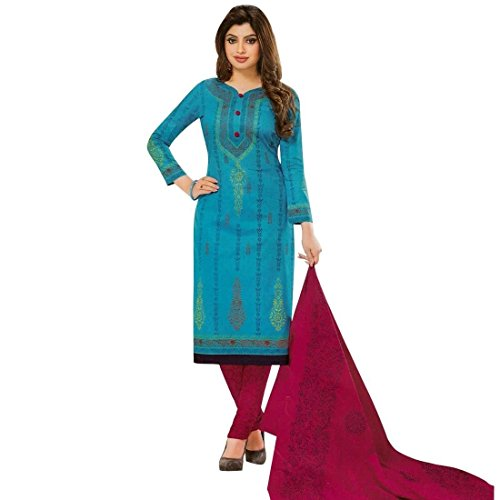 Ethnic Printed Readymade Cotton Salwar Kameez Suit Indian Pakistani – X-Small, Blue