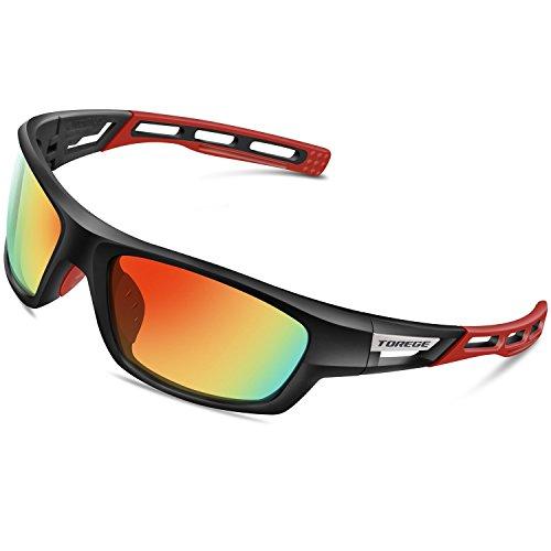 3599aae927 TOREGE Polarized Sports Sunglasses for Men Women Cycling Running Driving  Fishing Golf Baseball Glasses EMS-TR90 Unbreakable Frame TR007 (Black Frame  Red ...