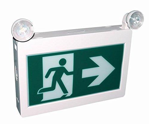 Enseigne de sortie d'urgence DEL Running man 1.2w x 2 tetes avec 3 pictogrammes (2 tete) Futur Vert CET-180