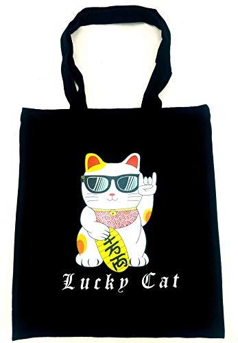 Neko Neko Tote Bag Lucky-cat Maneki-neko Rock & Rock Sunglasses Black Print with Lucky cat tote Lucky cat Bag ()
