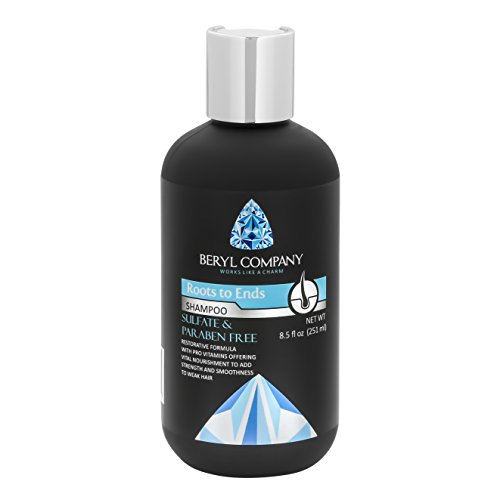 Beryl Roots to Ends Hydrating & Smoothing Shampoo, Paraben Free - Sulfate Free - With Aloe Vera, Cucumber Extract, and Pro-Vitamin B5 - For All Hair Types - Animal Cruelty Free, 8.5 fl. oz