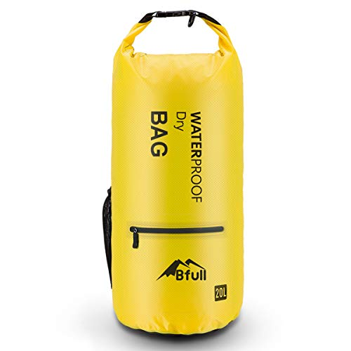 BFULL Dry Bag 5L/10L/20L/30L/40L [Lightweight Compact] Roll Top Water Proof Backpack with 2 Exterior Zip Pocket for Kayaking, Boating, Duffle, Camping, Floating, Rafting, Fishing