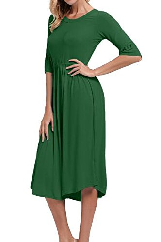 Leindr Women's Casual Ruffle 1/2 Sleeve Scoop Neck Midi Dress Solid Color Ruffle-Layer Loose Swing Jersey Dress Green S 4 (Casual Dress Up For Girls)