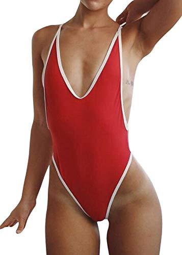 Swimsuits for Women Sexy Monokini Deep V One Piece Bathing Suits Backless Cheeky Swimwear Semi Thong Bikini (Red, Large)