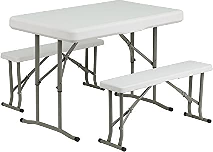 Amazon.com : DAD-YCZ-103-GG plástico Mesa plegable y Bancos ...