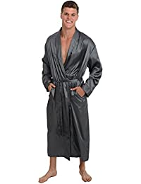 Mens Satin Robe, Long Lightweight Loungewear