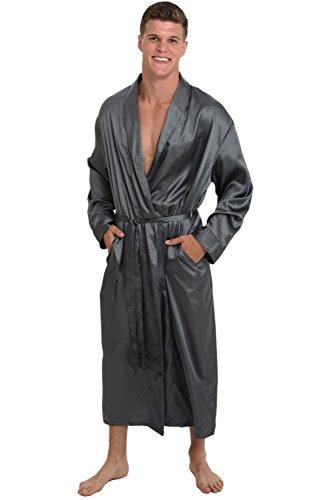 Alexander Del Rossa Mens Satin Robe, Long Lightweight Loungewear, 3XL Steel (A0720STL3X) by Alexander Del Rossa