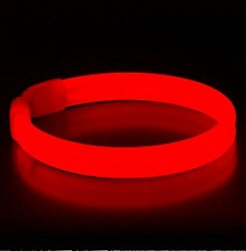 "Cheapest Party Supplies (Glow Sticks Bulk Wholesale Wristbands, 25 9"" Red Triple-wide Glow Bracelets, Bright Color, Glow 8-12 Hrs, 25 Connectors Included, Glow Party Favors Supplies, Sturdy Packaging, GlowWithUs Brand)"