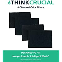 4 Replacements for Joseph Joseph Charcoal Odor Filters Fit Totem Intelligent Wastebaskets & Trash/Garbage Cans, Fits 13 & 16 Gallon, Compatible With Part # 30005, by Think Crucial