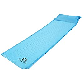"""WACOOL Ultralight Inflatable Sleeping Pad Mat Air Mattress - Ultra-Compact for Backpacking, Camping, Travel, Air-Support Cells Design (Blue Sleeping pad) 61 Comfortable, Durable , Abrasion resistant and Lightweight; SMALL enough to fit inside a backpack; Package size: 13""""x6""""x6"""". Perfect balance between comfort and lightweight! Sturdy valve. When the valve is opened, air enters the mattress automatically without requiring campers to spend hours inflating it. Contain open-cell foam inside and Non-Slip Soft Touch, Waterproof skin, which give the significant increase in comfort and warmth.Unfolded size: L72.8'' x H 0.98'' x W23.6'';Total weight: 2.25 lbs."""