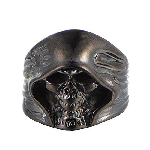 SAINTHERO Men's Large Vintage Biker Gothic Casted Death Grim Reaper Skull Stainless Steel Punk Ring Black Size 7 by MENSO (Image #7)