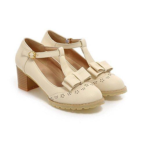 Amoonyfashion Femmes Boucle Ronde Fermée Orteils Chaton-talons Pu Solides Pompes-chaussures Beige