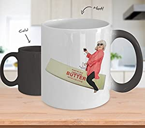 Paula Deen Riding Butter Coffee Mug Cup (Heat Changing) 11oz Funny Paula Deen Cooking Meme Gifts Merchandise Accessories Shirt Sticker Pin Decal Artw