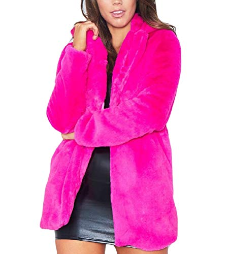 Eco Anteriore Caldo Cime Xinheo Bavero Donne Rosa Rossa Aperta Irsuto Delle Peluche Outwear pelliccia wRFwtCxqp