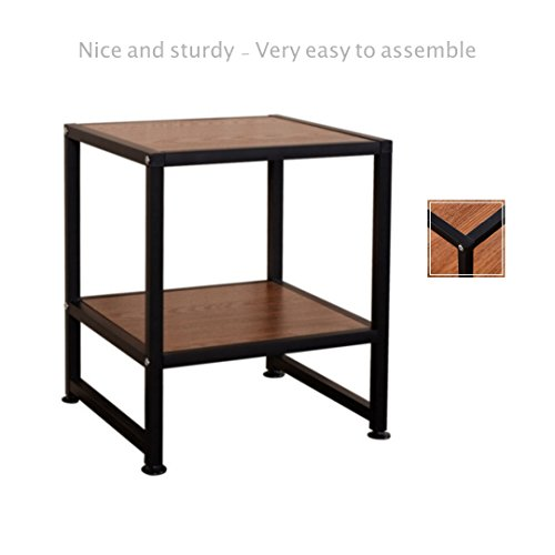 2 Shelf Side End Coffee Square Sofa Table Laptop Stand PC Desk Study TV Snack Solid Iron Frame Home Office Decor Furniture #1820
