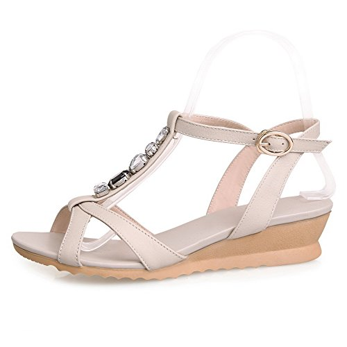 AmoonyFashion Buckle Womens Open Heels Beige Solid Leather Cow Toe Wedges Low Sandals OO4prqxwn6