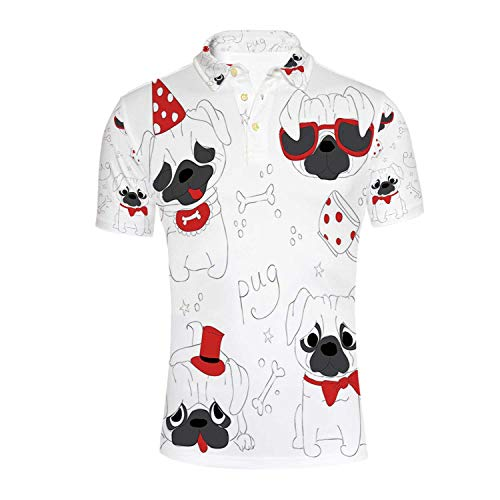 Pug Durable Polo Shirt,Dogs in Various States Sad Happy Cool Excited Dog Bone Dotted Mug Caricature Style Decorative for Men,M