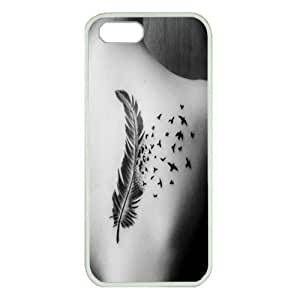 Case For HTC One M8 Cover ,fashion durable White side design phone case, Hard shellmaterial phone cover ,with hipster feather tattoo girl back.