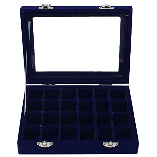 JIEPING Women Fashion Velvet Glass Jewelry Box Ring Earrings Display Case Holder Royal Blue