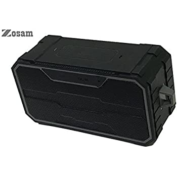 Zosam Portable Bluetooth V4.2 Wireless Speaker, HiFi 10W Driver IPX6 Waterproof Outdoor Stereo Speaker with Built-in Mic and AUX/SD Input for Home, Shower, Beach, Party, Travel (Black)