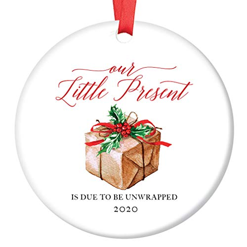 (Pregnancy Announcement Ornament Baby Due Date 2020 Our Little Present Expecting Newborn Soon Surprise Grandparents Family Christmas Keepsake 3