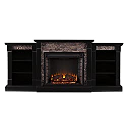 Southern Enterprises Ganyan Faux Stone Electric Fireplace with Bookcase, Black Finish from Southern Enterprises