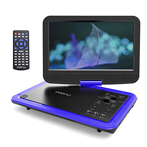 COOAU 12.5 Portable DVD Player with 5 Hours Rechargeable Battery, 10.5 HD Swivel Screen, Support USB and SD Card Direct Play, Memory Playing, Loop Playing, Region Free, Blue