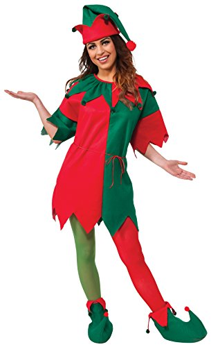 Santa's Elf Costume (Rubie's Adult Elf 4-Piece Set, Red/Green, One Size)