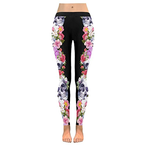 InterestPrint Custom Floral Sugar Skull Stretchy Capri Leggings Skinny Pants For Yoga Running Pilates Gym(2XS-5XL)