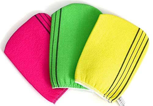 Korean Exfoliating Cloth Towels Washcloth Bath Scrup Mitt Italy Towel - 3pcs (Red,Green,Yellow) in 1 Package