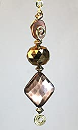 Copper Metal Swirl & Faceted Bronze Glass Ceiling Fan Pull Chain / Light Pull Chain