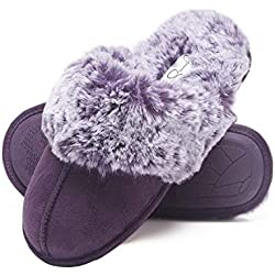 Jessica Simpson Comfy Faux Fur Womens House Slipper Scuff Memory Foam Slip On Anti-Skid Sole (Size Extra Large, Purple)
